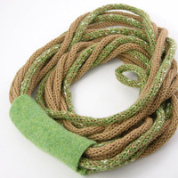 Scarf necklace loop scarf infinity neck wrap knit necklace women fashion skinny scarf beige olive green moss curationnation