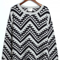 Aztec Triangle Pattern Jumper in Black/Grey - New Arrivals - Retro, Indie and Unique Fashion
