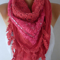 La Vie en Rose - Exclusive Red Oversize Scarf Spring Shawl Scarf Cowl Scarf Gift Ideas for Her Women Fashion Accessories Mother's Day Gift