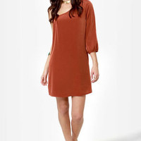 C'mon Get Happy One Shoulder Burnt Orange Dress