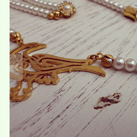 Pearl necklace/Wedding necklace/Bridal necklace/Bird necklace/Arabic name of God Allah/Gold