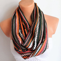 Chevron Infinity Scarf Loop Scarf Circle Scarf Harvest Multicolor
