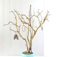 "Jewelry Holder Organizer Tree Gold Robin's Egg Blue Aqua 21"" painted tabletop tree necklace hanger bedroom decor for her"