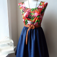 Beautiful Flamingo Navy Contrast Tropical Dress XS S