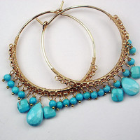 Sleeping Beauty Turquoise Beaded Gold Filled Hoop Earrings Wire Wrapped Gemstone Luxury Spring Fashion