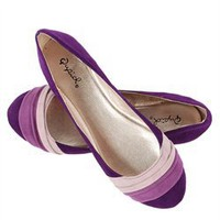 Qupid Purple Velvet Color Block Ballerina Flats and Womens Fashion Clothing &amp; Shoes - Make Me Chic