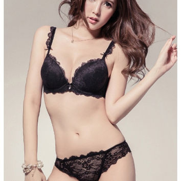Coco Push-Up Demi Bra Set (Black)