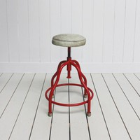 Red and Cowhide Stool