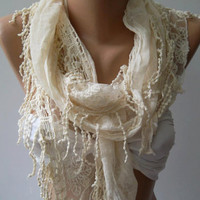 Fantastic  Scarf - Elegance  Scarf  with Lace Edge