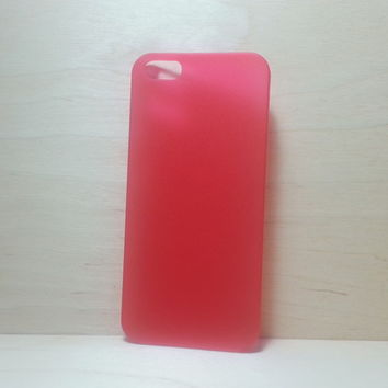 For Apple iPhone 5 / 5s Frosted Red Super Slim 0.3 mm Hard Plastic Snap On Case