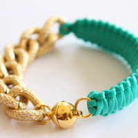Magnetic Clasp Gold Textured turquoise Punch Bracelet