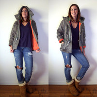 1970's Van Cort Air Force Parka // Orange & Army Olive Green Fur Hood // XS Small Coat Jacket