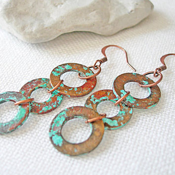 Copper Washer Earrings, Patina Copper Earrings, Metal Earrings Handmade, Verdigris Earrings, Rustic Copper Earrings, Industrial Jewelry
