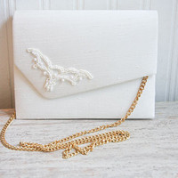 Wedding Purse, White Beaded Bag, Dyeables Bag, Gold Chain, 1980s, New, Bridesmaid Bag, Mother of Bride, Summer Wedding, Dyeable Purse, Silk