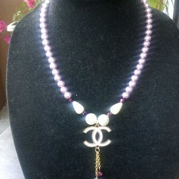 Super Cute Designer Inspired Dainty Pearl Crystal Pendant Necklace