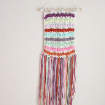 Colorful Wall Hanging, Crochet Weaving, Wall Decor, Nursery Decor, Colorful Home Decor