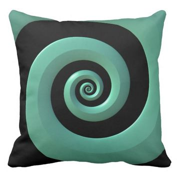 Mint/Black Spiral Cotton Throw Pillow 20x20
