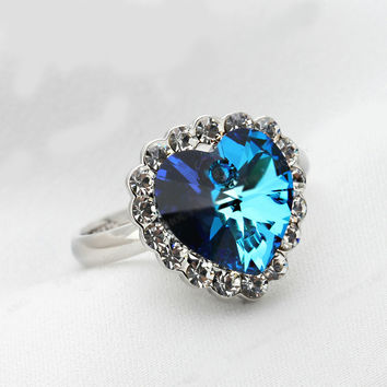 The Heart Of The Ocean 18K White Gold Plated Wedding Ring Austrian Crystals