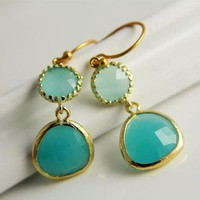 Spring Trend Earrings, Fashion Elegant Mint Opal Earrings, Bridesmaid Jewelry, Wedding, Bridal, Mothers Day Unique Gift, Bezel Set Gold