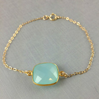 Aqua Blue Chalcedony Bracelet, Cush.. on Luulla