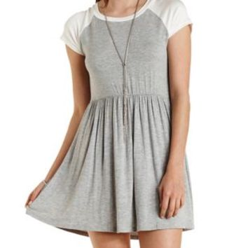 Raglan Sleeve Babydoll Dress by Charlotte Russe - Heather Gray Combo
