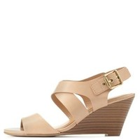 City Classified Slingback Low Wedge Sandals - Natural