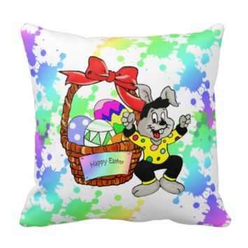 Colorful Easter eggs in basket with dancing easter Pillows