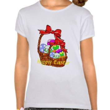 Colorful Easter eggs in baskets Tees