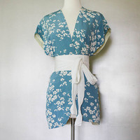 Vintage Kimono Vest - Blue with white Blossom Flowers