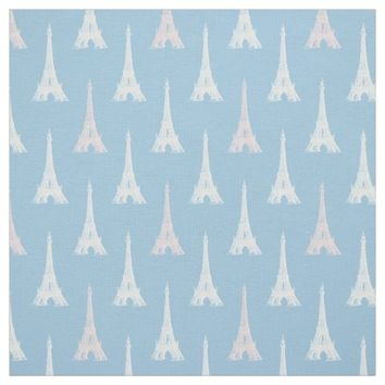 Paris Eiffel Tower Pink Blue Fabric
