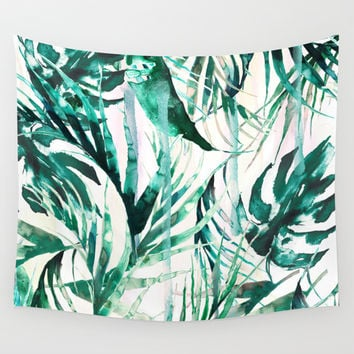 Green Tropical paradise Wall Tapestry by Nikkistrange