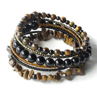 Stacking beaded bracelets - black onyx & brown tiger eye bangles - 6x wrap around bracelet stack