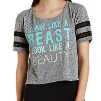 Mesh-Striped Flyaway Graphic Tee by Charlotte Russe - Gray Combo