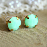 Mint and gold earrings - 14k gold plated earrings with real mint faceted  swarovski rhinestone