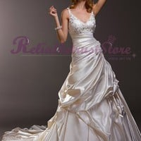 Design A-line Straps Satin Beach Wedding Dress-$348.99-ReliableTrustStore.com