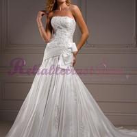 Design Mermaid Strapless Lace Beach Wedding Dress-$345.97-ReliableTrustStore.com