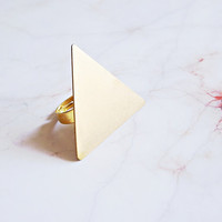 Gold Triangle Ring - Geometric Jewelry