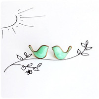 Kids Tiny Mint Birds Earrings - posts studs earrings - Free shipping Etsy