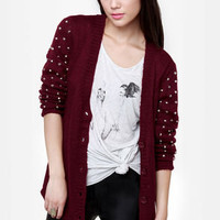 Stud-y Guide Studded Burgundy Cardigan Sweater