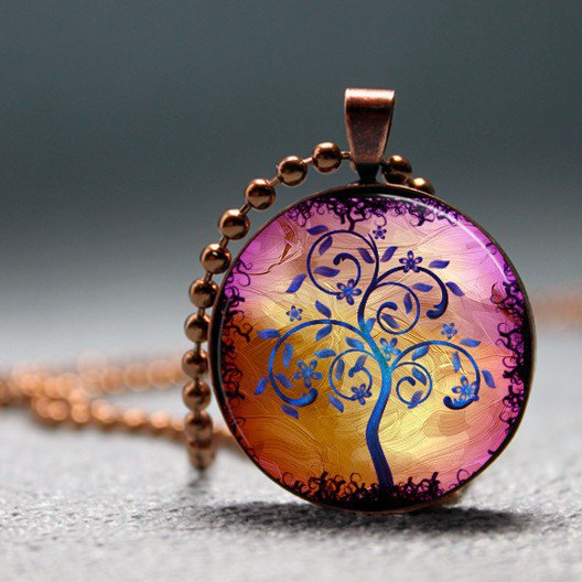 Golden Lilac Modern Art Tree Resin Pendant Picture by artyscapes
