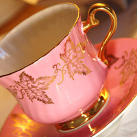HM Sutherland Rose Swirled and Gilt Maple Leaf Tea by DadsTeacups