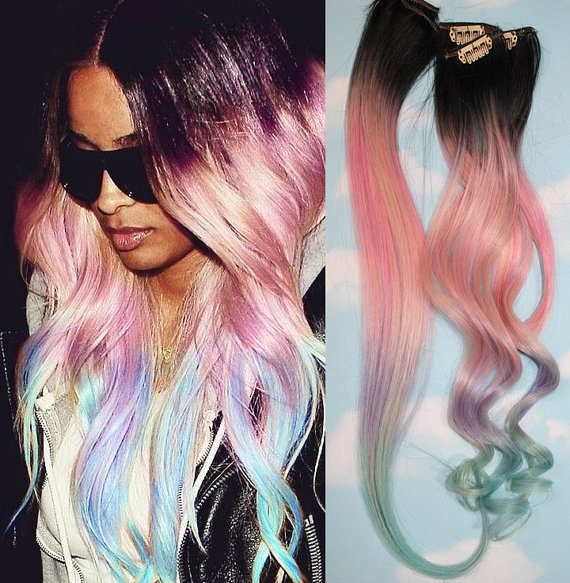 Light Pastel Dip Dyed Hair, Clip In Hair from Cloud9Jewels on
