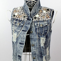 Pearls & Chains Demin Vest