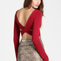 Cabriole Cross Back Crop Top - $28.00: ThreadSence, Women's Indie & Bohemian Clothing, Dresses, & Accessories