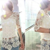 ELEGANT KOREAN FASHION CROCHET LACE WOMEN KNIT TOPS OUTERWEAR SHIRT Size M