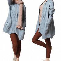 Linen Irregular single breasted long shirt