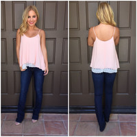 Cotton Candy Crepe Lace Tank