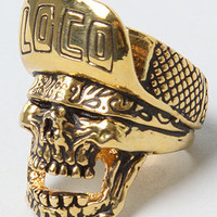 The Loco Skull Ring in Brass Plated Gold