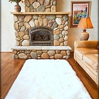 Fur Accents White Faux Sheepskin Area Rug / Ultra Suede Back / 4'x5' Rectangle