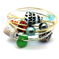 Custom Thick Gold Beach Bangle..pearls, shells, coral and sea glass